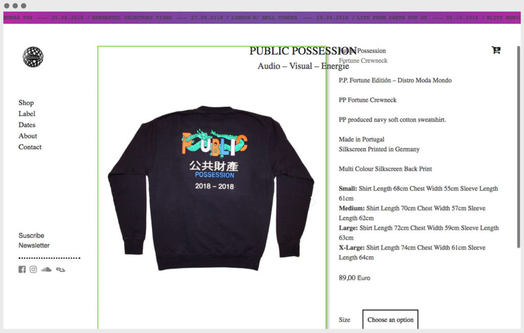 Screenshot Public Possession website 4