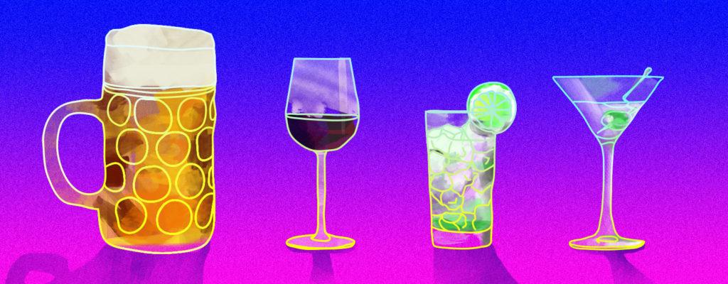 Illustration drinks in Europe